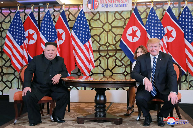 north korea 039 s leader kim jong un and us president donald trump meet for the second north korea us summit in hanoi vietnam in this photo released on march 1 2019 by north korea 039 s korean central news agency kcna photo reuters