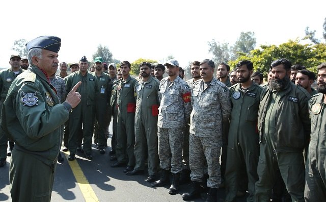 Air Cheif Marshal Mujahid Anwar Khan, Chief of the Air Staff, Pakistan Air Force, addressing the combat crew during his visit to forward operating airbase of Pakistan Air Force. PHOTO: PAF