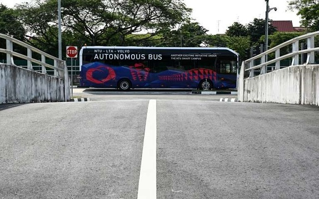the volvo electric driverless bus is put through its paces at a testing track in singapore photo afp