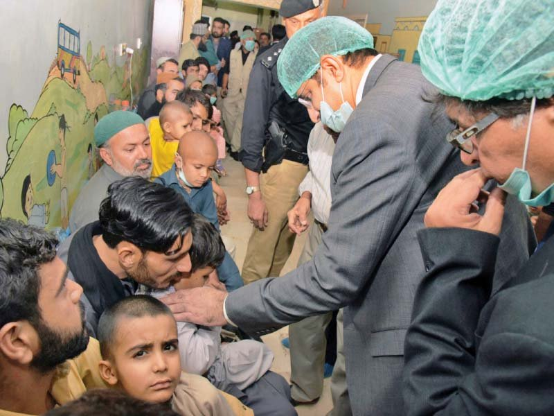 sindh chief minister syed murad ali shah visited children brought for treatment at the out patients department of the child aid association s cancer care centre on wednesday photo nni