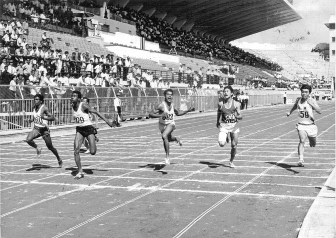 John Permal (2L) winning a 200m race. PHOTO COURTESY: TWITTER/ Anthony Permal