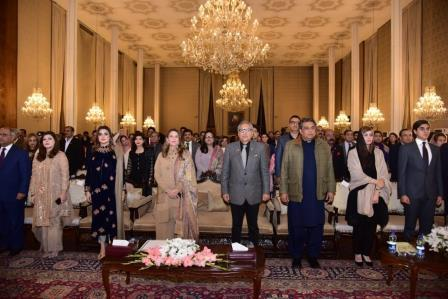 federal ombudsperson for protection against harassment of women at the workplaces kashmala tariq first lady samina alvi president arif alvi minister for maritime affairs ali zaidi minister for climate change zartaj gul and azlan khan photo express