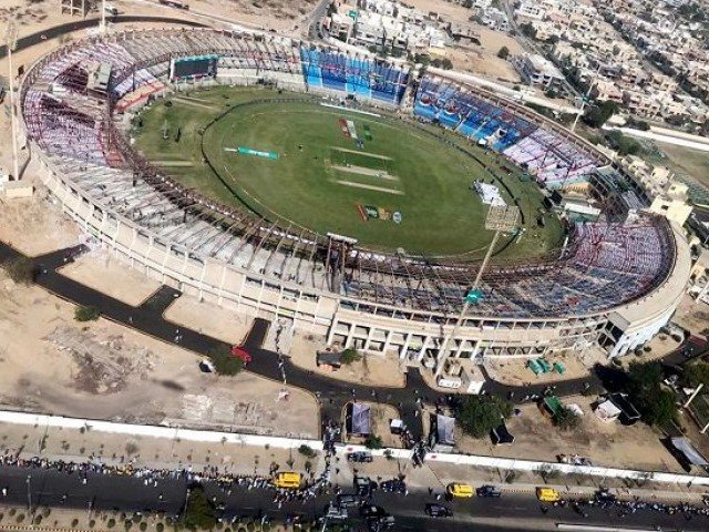 an aerial view of karachi s national stadium photo app