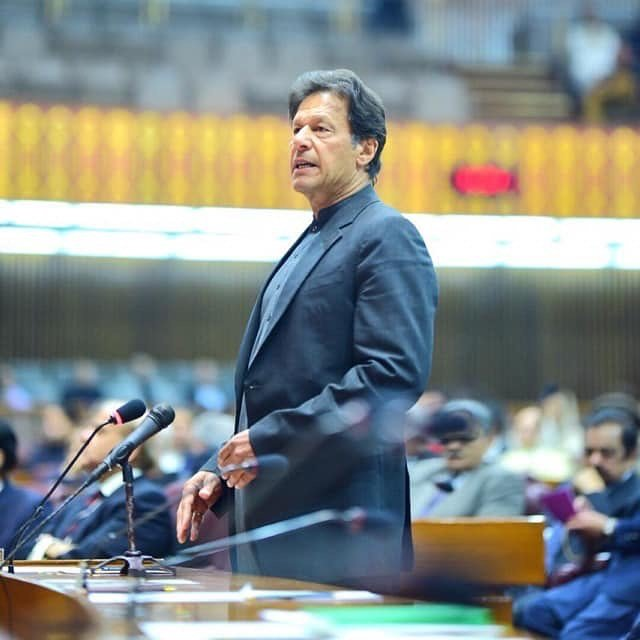 Imran Khan addressing parliament. PHOTO: INSTAGRAM/@imrankhan.pti