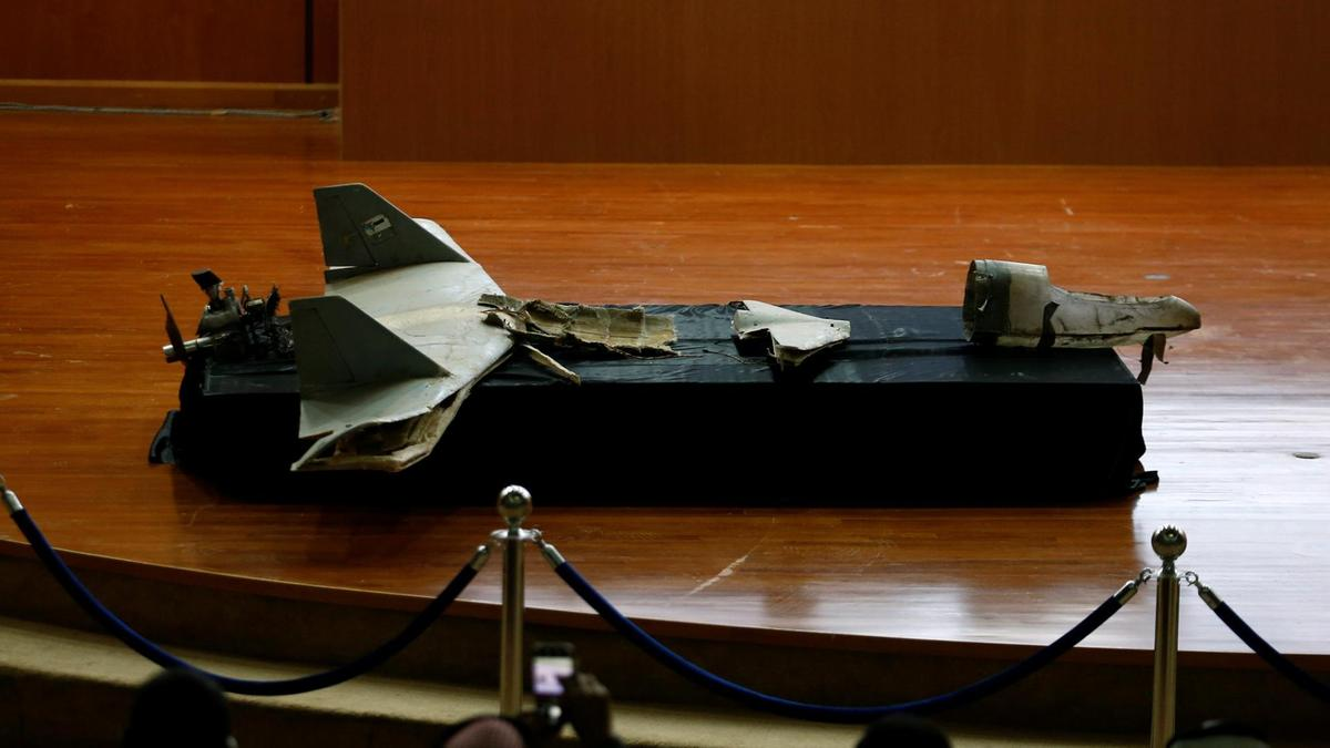 a destroyed drone is seen at the news conference in riyadh saudi arabia january 20 2019 photo reuters