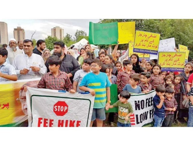 parents and their children protest against high handedness of private schools photo express