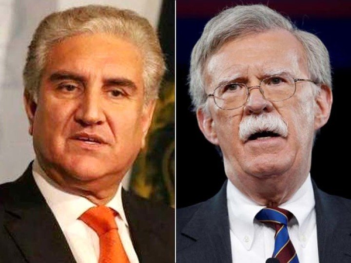 foreign minister shah mehmood qureshi left and us national security adviser john bolton photo express file