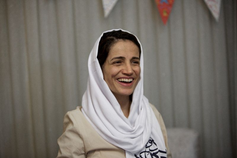 award winning iranian human rights lawyer nasrin sotoudeh smiles at her home in tehran on september 18 2013 after being freed following three years in prison on state security charges photo reuters