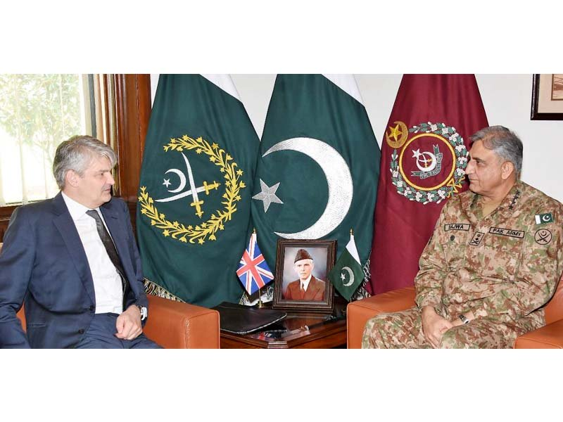 UK Defence Secretary Stephen Lovegrove in a meeting with army chief General Qamar Javed Bajwa. PHOTO: ISPR