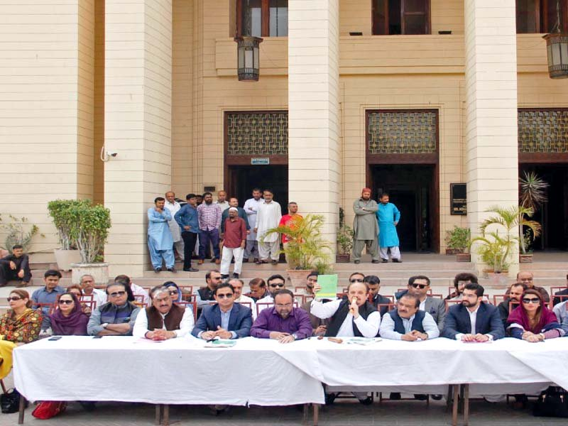 opposition members boycotted the sindh assembly session on tuesday and sat outside the building to address a press conference instead photo ppi