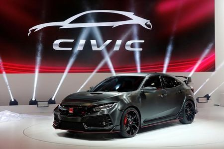 The Honda Civic Type R Prototype is displayed on media day at the Paris auto show. PHOTO: REUTERS