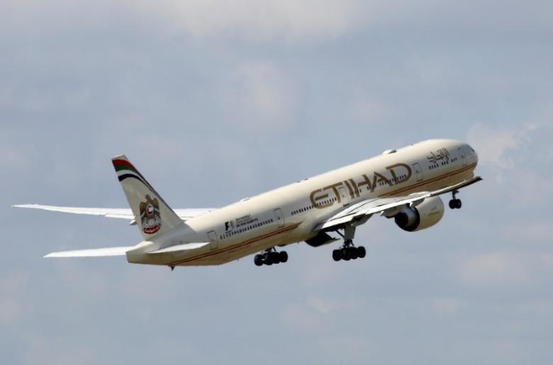 an etihad aiways plane in flight photo reuters
