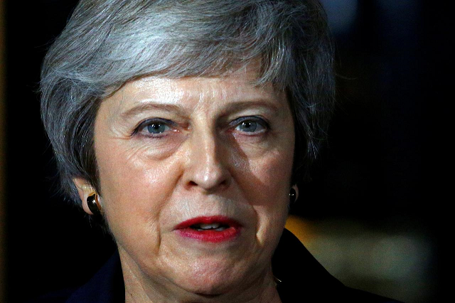 Britain's Prime Minister Theresa May, makes a statement outside 10 Downing Street, in London, Britain November 14, 2018. PHOTO: REUTERS/FILE
