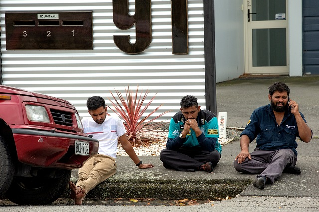 grieving members of the public following a shooting at the al noor mosque in christchurch new zealand photo reuters