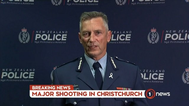 An image grab from TV New Zealand taken on March 15, 2019 shows New Zealand police commissioner Mike Bush addressing the media following the mosque shooting in Christchurch. PHOTO: AFP