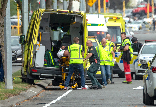an injured person is loaded into an ambulance following a shooting at the al noor mosque in christchurch new zealand march 15 2019 photo afp