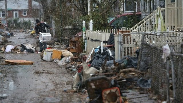 a street in the new york borough of staten island after hurricane sandy in 2012 killed about 40 people in the city photo afp