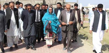 federal minister for defence production zubaida jalal and pakistan bait ul mal managing director aon abbas bappi conducting a survey of the universityu of turbat photo express