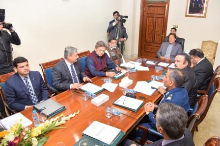 prime minister imran khan being briefed on the draft of new aviation policy 2019 by secretary aviation shahrukh nusrat at pm office on thursday here federal minister for aviation mohammedmian soomro and federal information minister fawad chaudhry also present on the occasion high officials of pm secretariat aviation division and pakistan civil aviation authority attended the session photo express