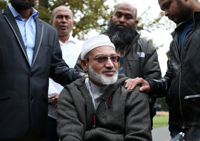farid ahmad who survived the al noor mosque shootings but his wife husna was killed speaks to the media in christchurch on march 17 2019 two days after a shooting incident at two mosques in the city photo afp
