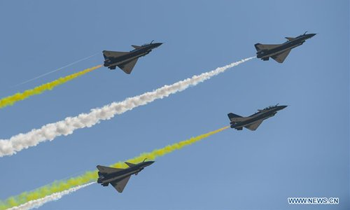 China's Bayi Aerobatic Team perform at the 12th China International Aviation and Aerospace Exhibition (Airshow China) in Zhuhai, south China's Guangdong Province, on Nov. 6, 2018. The air show opend on Tuesday. Photo: Xinhua