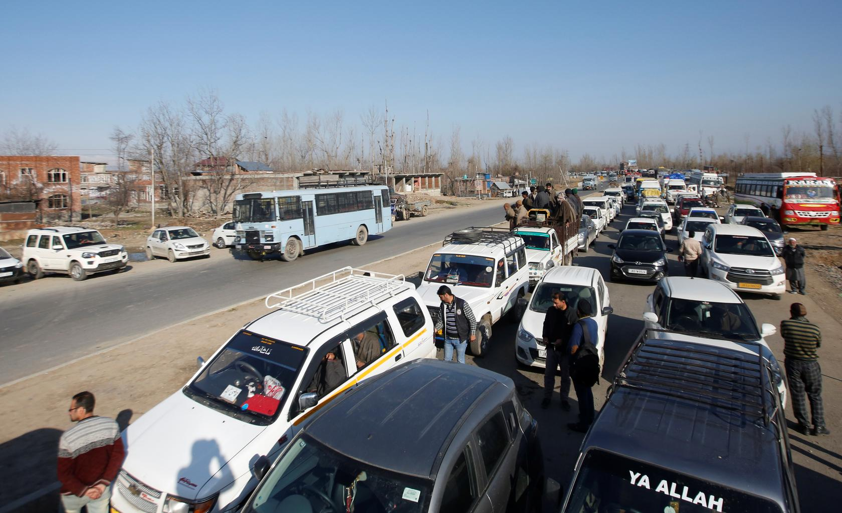 school buses patients held up by indian roadblocks on main kashmir highway