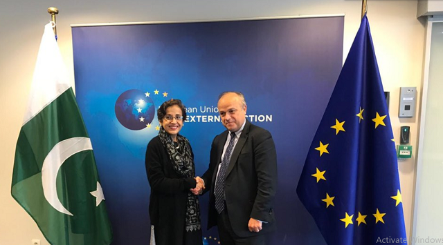 tehmina janjua jean christophe belliard co chair 5th round of pakistan eu political dialogue in brussels photo twitter mohammadfaisal
