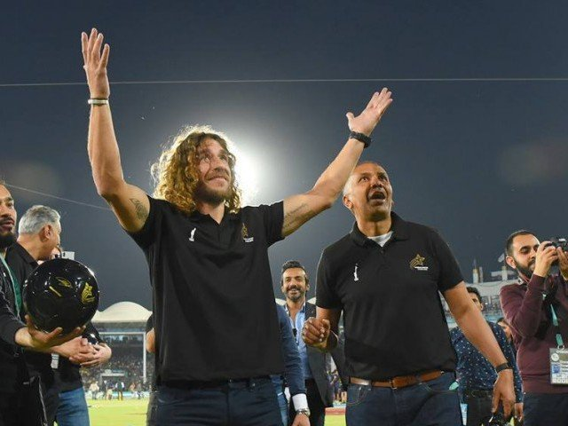 puyol was in karachi to promote tsg s world soccer star event and he officially kicked off the ticket sales for the event photo courtesy psl
