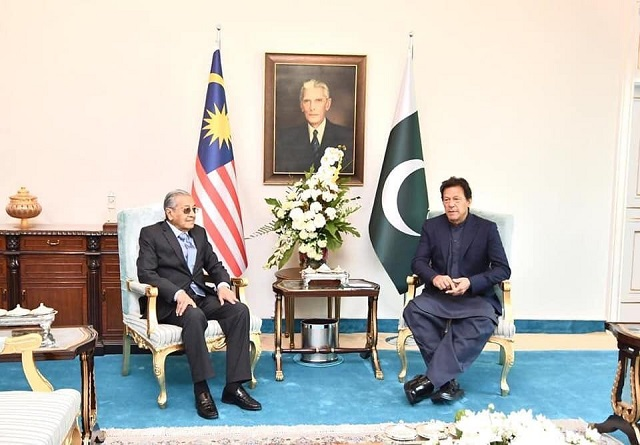 Prime Minister Imran Khan with Malaysian Prime Minister Mahathir bin Mohammad in Islamabad. PHOTO: INSTAGRAM/@imrankhan.pti