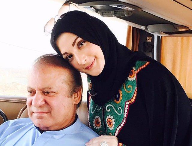 a file photo of maryam nawaz with father nawaz sharif photo express