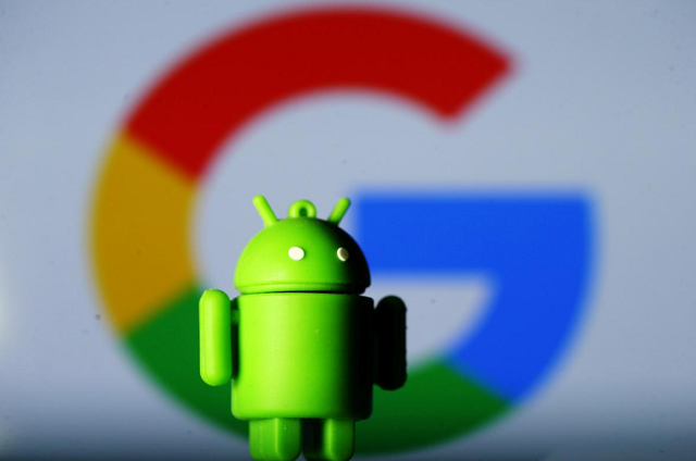 a 3d printed android mascot bugdroid is seen in front of a google logo in this illustration taken july 9 2017 photo reuters