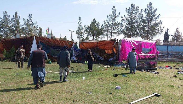 two blasts kill four at afghan stadium celebration