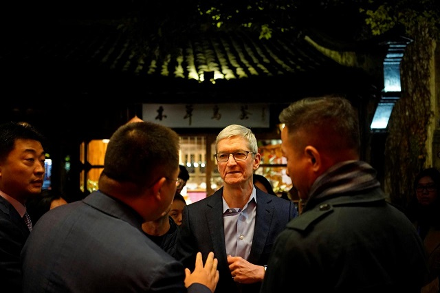 apple ceo tim cook arrives before the fourth world internet conference in wuzhen zhejiang province china december 2 2017 photo reuters