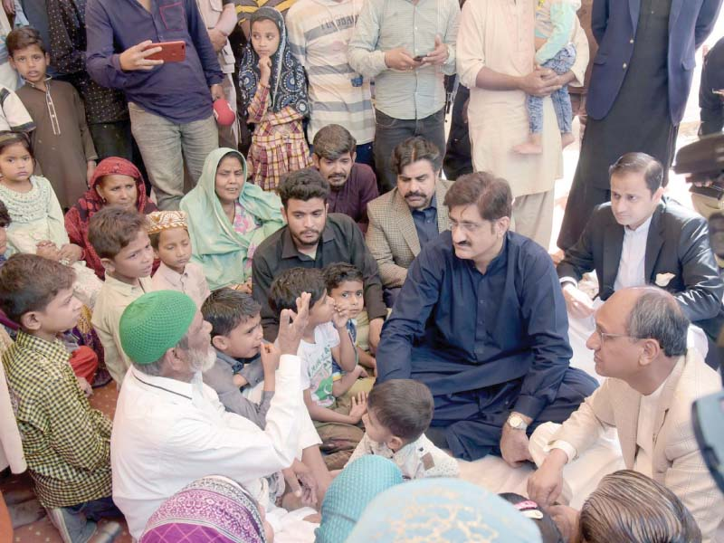 cm shah offered condolences to the deceased constable s children during a visit to his home on saturday photo ppi