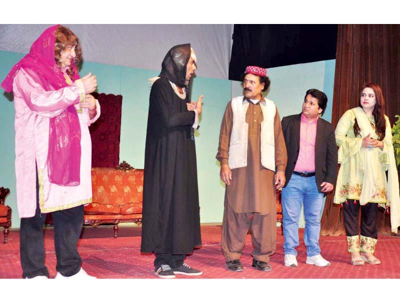 actors perform stage play pakistan zindabad at rawalpindi arts council photo express