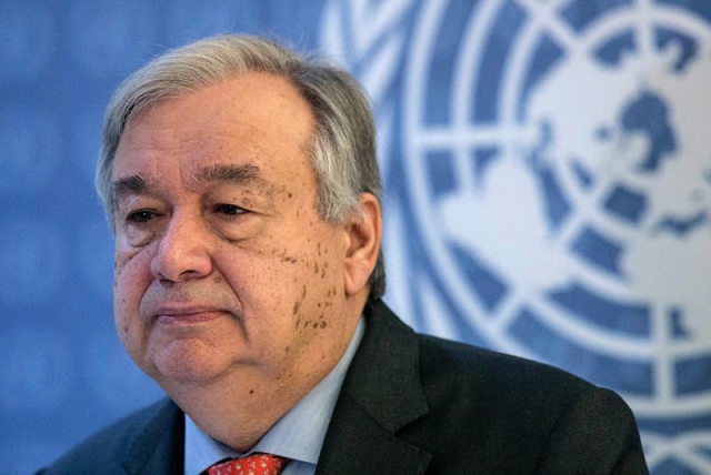 un secretary general antonio guterres was speaking on the sidelines of an african union summit in ethiopia 039 s capital addis ababa photo afp