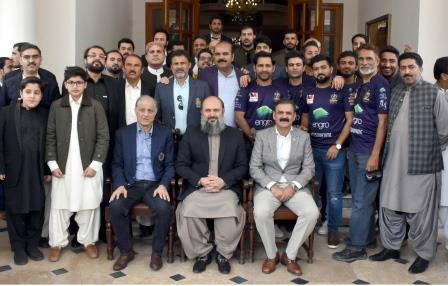 quetta gladiators team in group photo with chief minister jam kamal commandant southern command asim saleem bajwa and other minister during a two day visit to quetta photo express