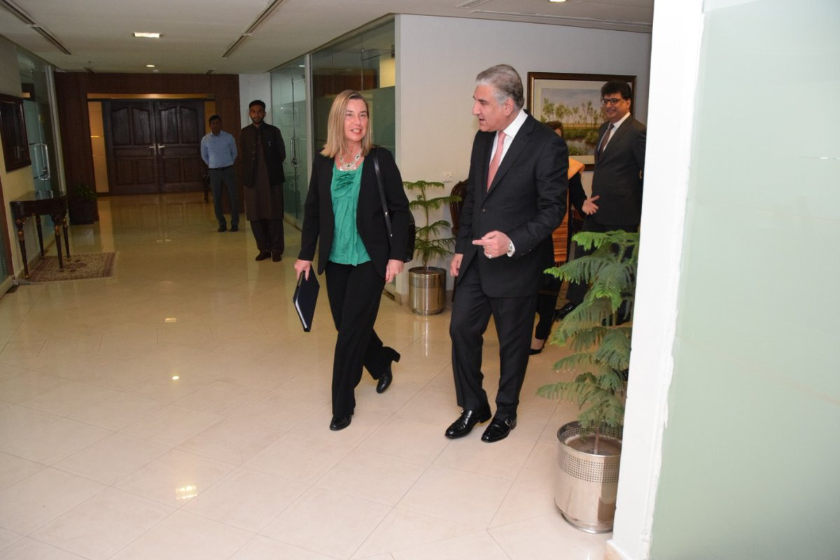 foreign minister shah mahmood qureshi and foreign policy chief federica mogherini hold joint press conference photo radio pakistan