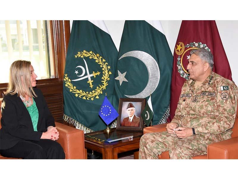 federica mogherini meets general qamar javed bajwa at ghq photo ispr