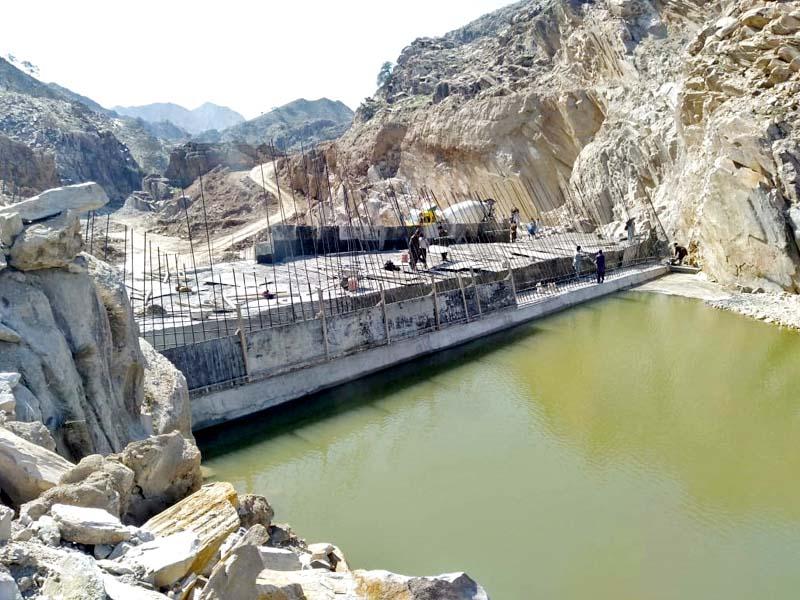 a view of under construction gandao dam photo express