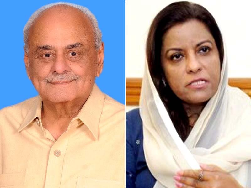 brig retd ijaz shah left and ppp secretary information nafisa shah photo file