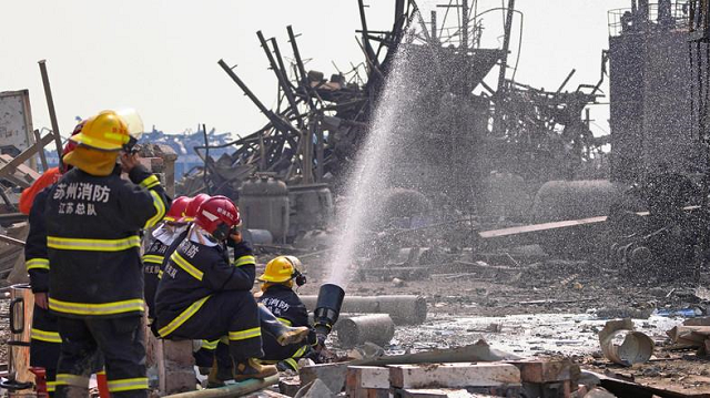 firefighters work on the rubble of a pesticide plant following an explosion in xiangshui county jiangsu province china on march 23 2019 photo reuters