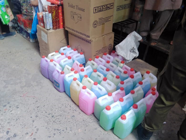 huge quantity of lethal liquid soap being used at govt hospitals seized