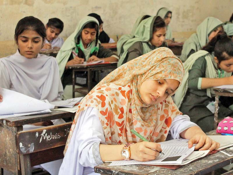 after much confusion and delay board examinations began on monday this year 367 060 students are appearing for the class ix and x matric examinations photo online
