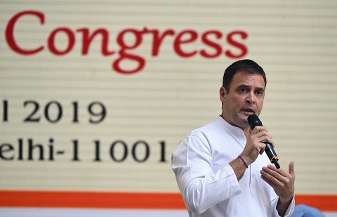 indian national congress party president rahul gandhi addresses supporters at an event to unveil the party 039 s election manifesto photo afp