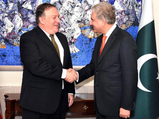 shah mehmood qureshi mike pompeo have telephonic conversation fo photo express file