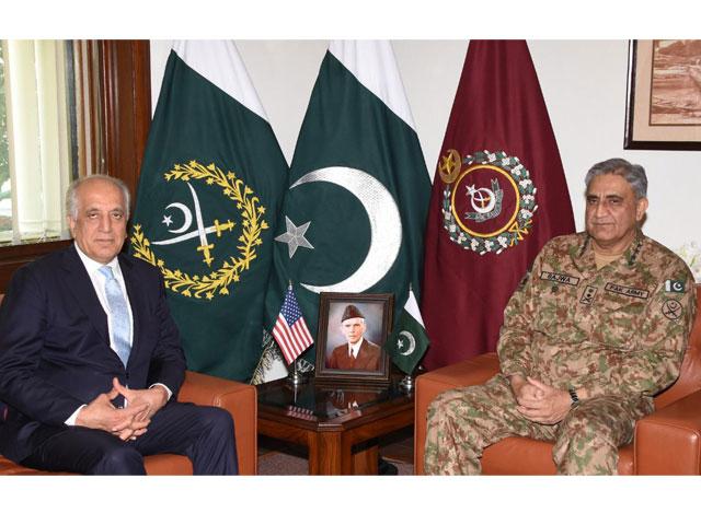 us special envoy for afghan peace zalmay khalilzad calls on army chief general qamar bajwa at the ghq in rawalpindi on friday photo ispr