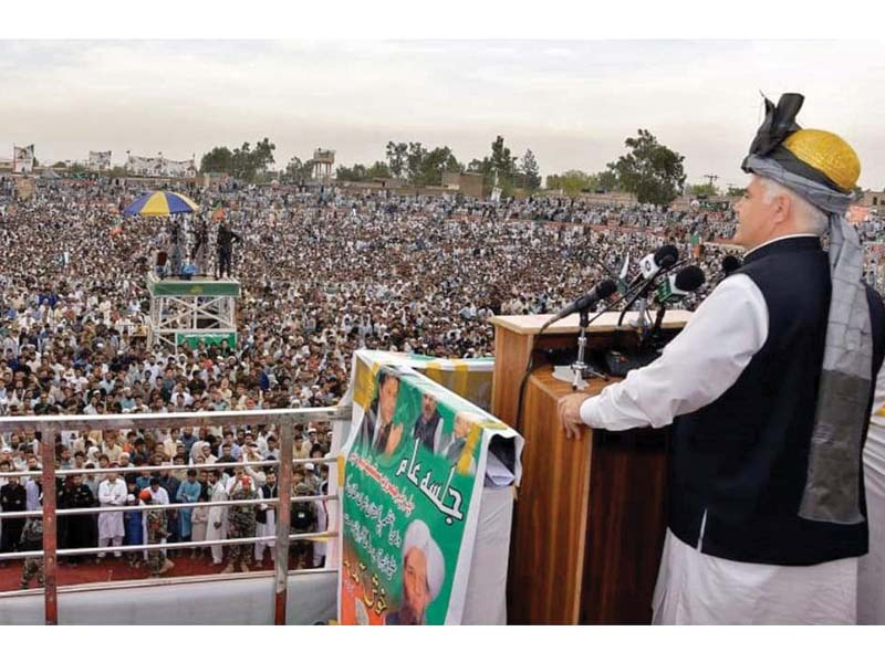 chief minister mahmood khan addressing a public gathering in jamrud photo express