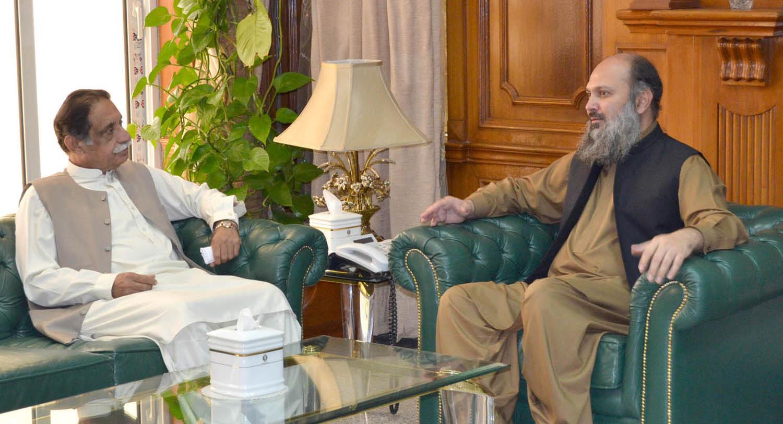 balochistan chief minister jam kamal khan in a meeting with mpa jan muhammad jamali at the cm secretariat photo express