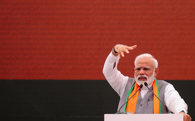 indian prime minister narendra modi gestures at an event to present the bharatiya janata party bjp election manifesto in new delhi on april 8 2019 photo afp
